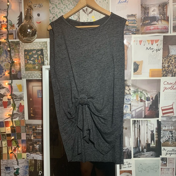 All Saints Tops - ALL SAINTS | gray jersey burn out ruche top